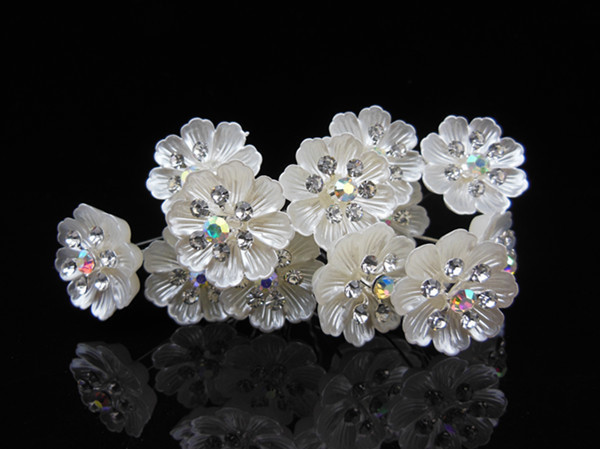 12pcs/lot 2015 New Women Wedding Flower Crystal Rhinestone Hair Pins Bridal Party Prom Hair Clips Hair Jewelry accessories cheap(China (Mainland))