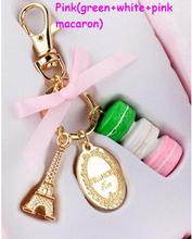 Fashion Macarons Cake Keychain With Box France Paris LADUREE Effiel Tower Macarons Keychain Bag Charm Accessories Best Gifts(China (Mainland))