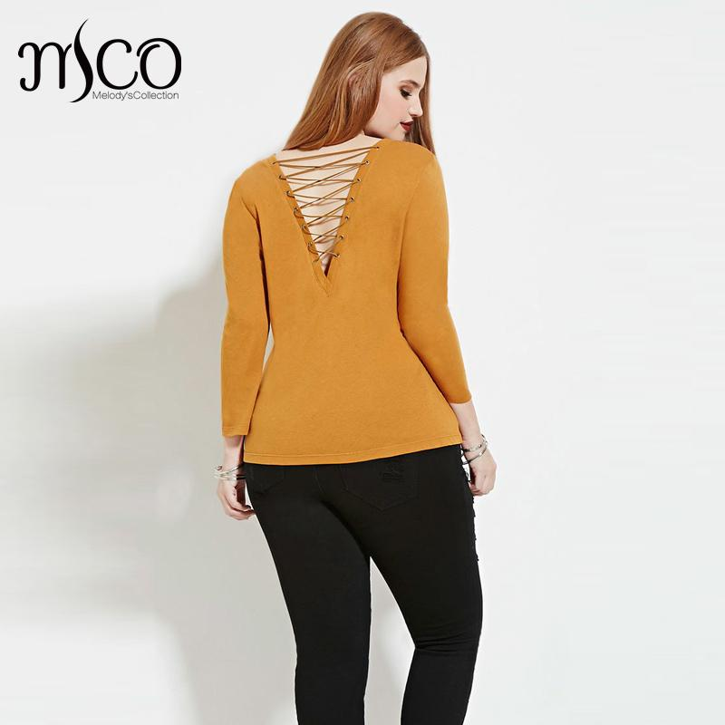 European 3/4 Sleeves Autumn Basic Easy Women T-shirt Sexy Lace Up Back Tee Shirt Street Bandage Slim Fit Tops Plus Size 6xl 7xl(China (Mainland))