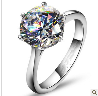 14K White Gold Luxury 4Ct Round Cut Moissanite Tested Positive Engagement Wedding Anniversary Ring for Women OEM Factory Jewelry(China (Mainland))