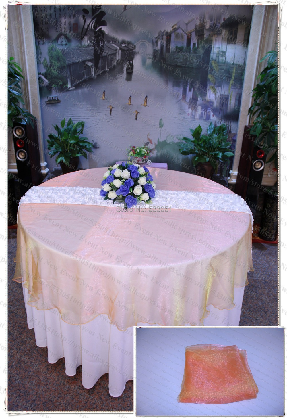 210cm Round NO.42 Green orange Organza Table Overlay/Table Cover/Tablecloth For Wedding Party Home Hotel Banquet Decorations(China (Mainland))