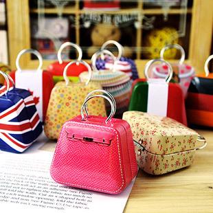 Storage Boxes & Bins 12 Pcs/lot Small Metal Box Tin Cans For Candy Key Vintage Handbag Shape Decorative Iron Cajas(China (Mainland))