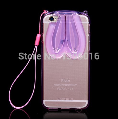 fashion cartoon rabbit rabito ear case for iPhone 6 4.7 transparent crystal TPU clear back stand cover free shipping(China (Mainland))