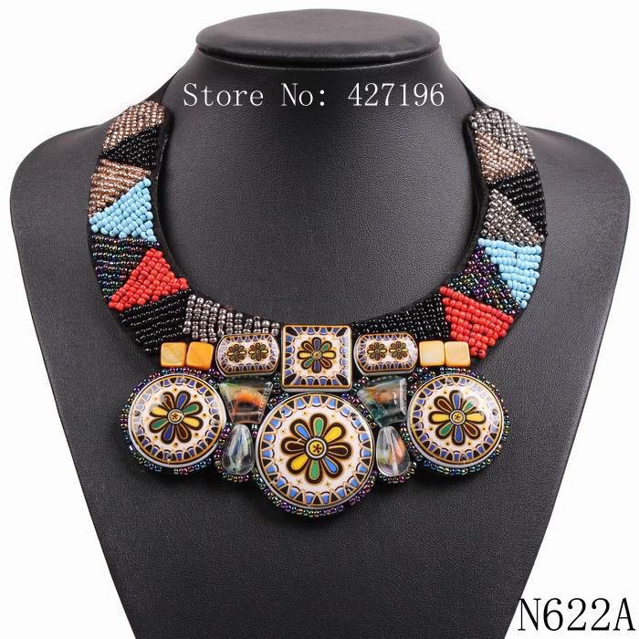 2016 new design fashion vintage tibetan antique colorful acrylic bead flower enamel black rope chunky collar choker necklace(China (Mainland))