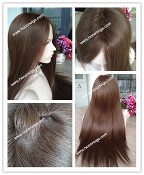Супер длина все волосы одной длины 22 24 inchsilk прямые темно-браун парики виргинских бразильских волос еврейский парик кошерный парик на складе