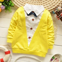 Spring Autumn Casual Gentleman Baby Babi Children Clothing Boys Long Sleeve Bow Knot T-shirt Tops S1893(China (Mainland))
