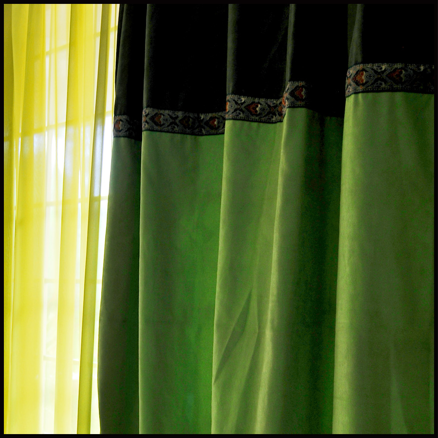 Quality dodechedron curtain laciness paragraph suede fabric patchwork curtain fabric floor window customize green
