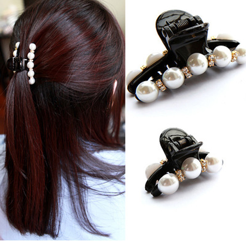 1Pc Black Claw Clip Crystal Pearl Plastics Hair Clip For Women/Baby Party Festival Rhinestone Hairpin Hairgrip Hair Accessories(China (Mainland))