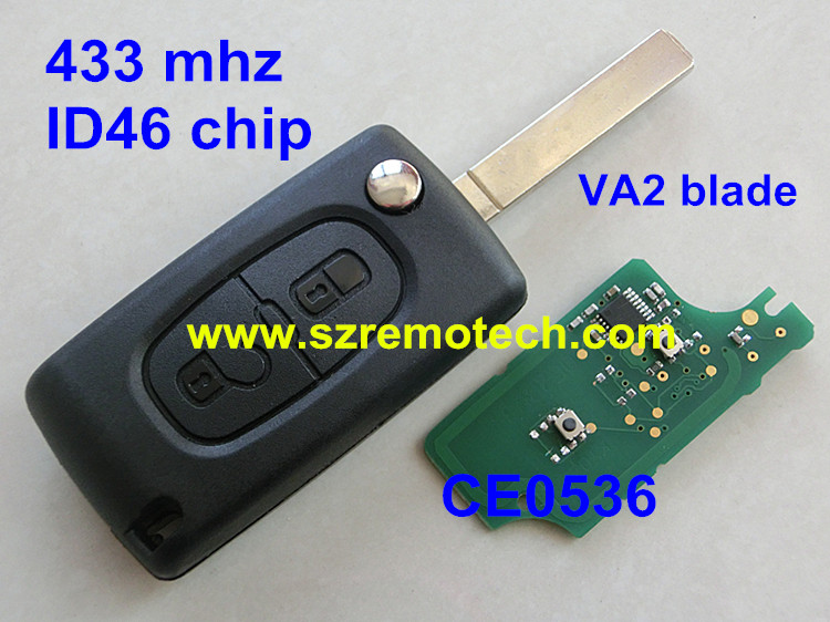 Cheap 2 button flip remote key 433mhz with ID46 Chip VA2 307 Blade Fit For CITROEN C2 C3 C4 C5 C6 CE0536 Car Alarm Keyless(China (Mainland))