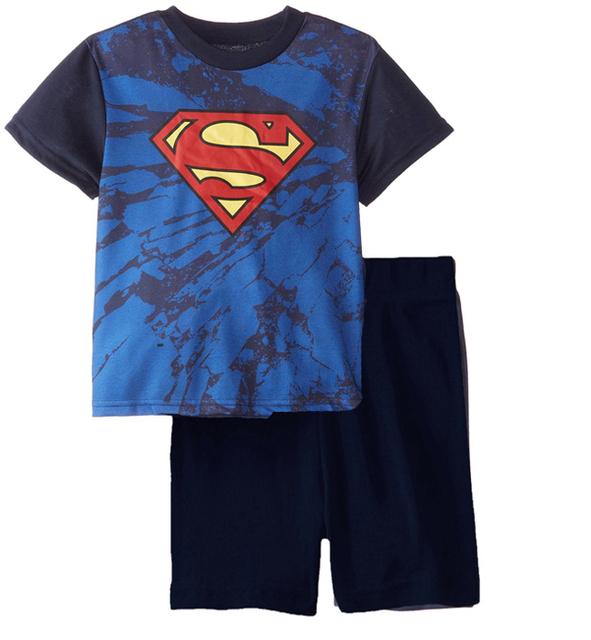 Детская одежда 2016 мультфильм вата звезда мальчики футболки + брюки = устанавливает дети супермен бэтмен костюмы одежда