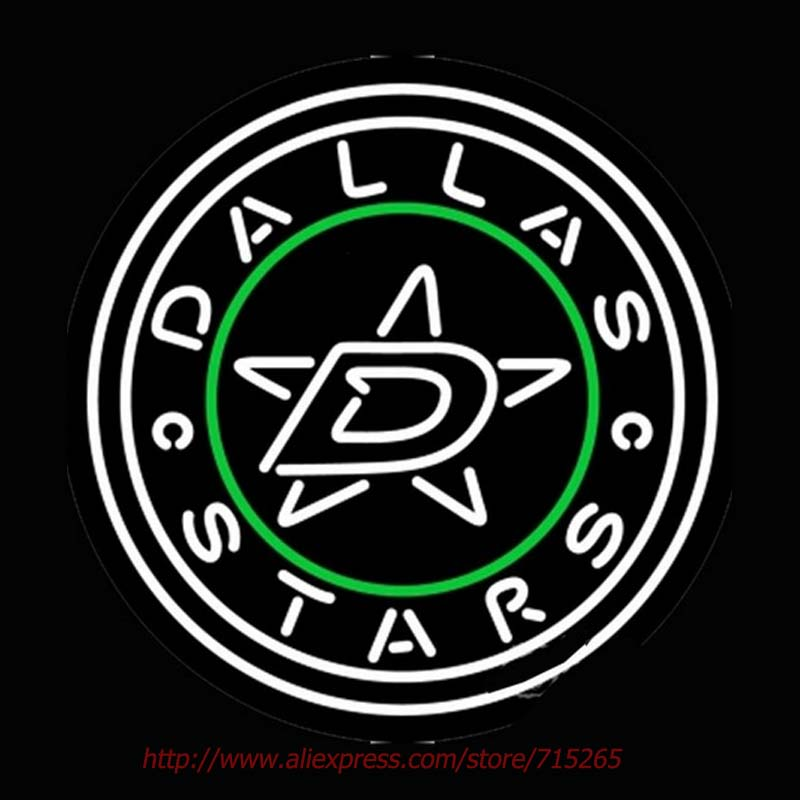 Dallas Stars Secondary Logo Neon Sign Bright Neon Bulbs Real Glass Tubes Handcrafted Recreation Room Design Iconic Sign 24x24(China (Mainland))