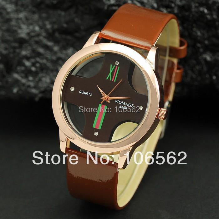 cheap quartz watch Brown \ white Transparent Cross Dial Men Women leather Cuff watches Casual Fashion wristwatch five colors(China (Mainland))