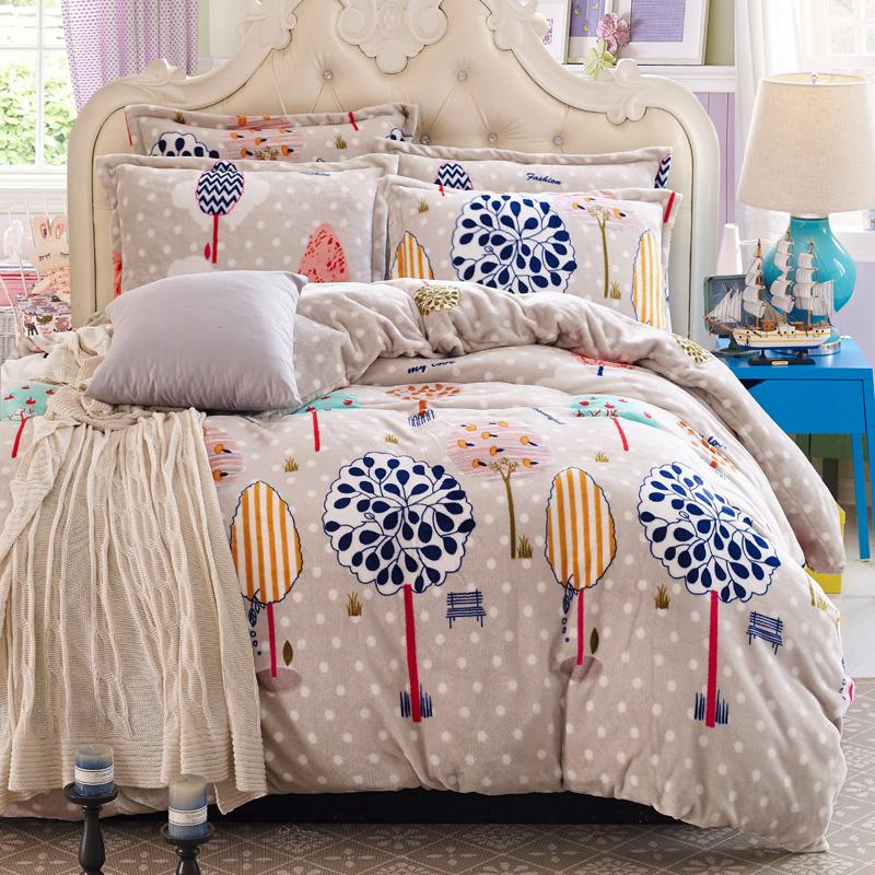 winter soft fleece bedding set twin full queen king size 4pc duvet cover sets (1 comforter case+1 bedsheet+2 pillowcases)(China (Mainland))