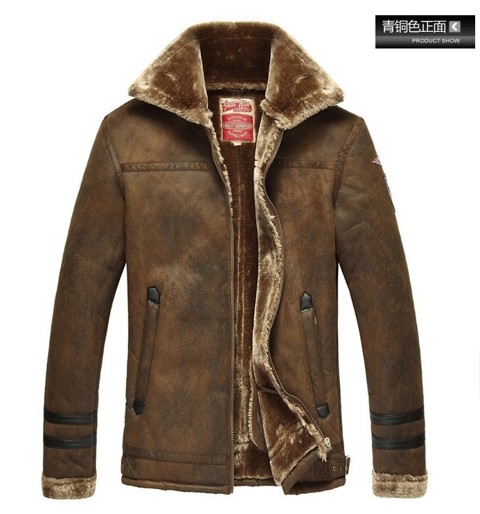 Fur leather men's lapel thickening plus wool leather pilot jacket Nordic Air Force winter yellow casual wholesale(China (Mainland))
