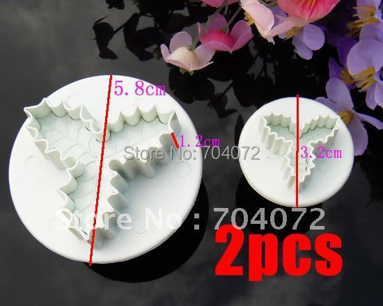 2015 Real Cake Tools free Shipping Lowest Price 2pcs Fondant Plunger Cutter Sugarcraft Clay Clays Cake Decorating Tools Leafage