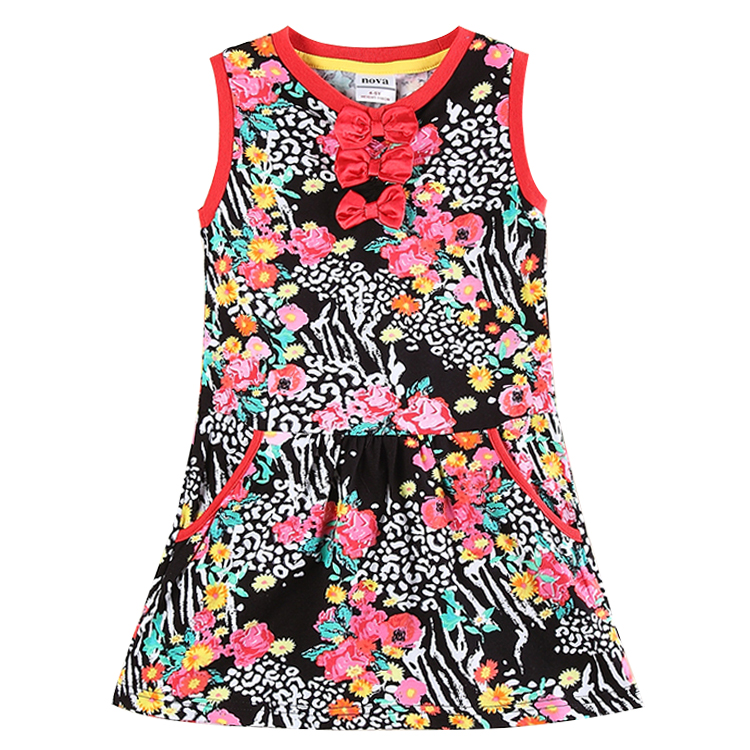 nova kids wear summer cotton sleeveless printed floral frocks girl dress knee-length party dress 2015 new design for girl frocks<br><br>Aliexpress