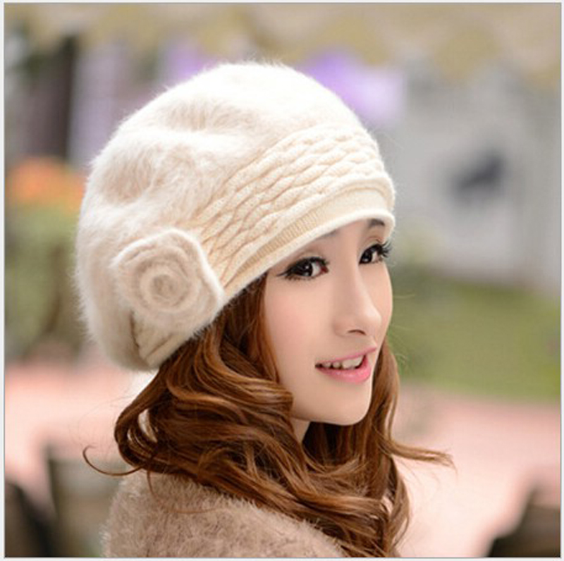 New style winter rabbit fur hat ladies warm hat Knitted cap woolen yarn hat WH001(China (Mainland))