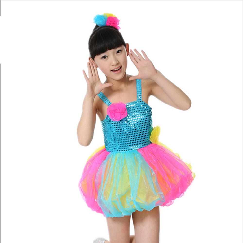 Children Colorful performance costumes lantern skirt tutu girls modern dance apparel child 110cm 150cm - Performance Clothing store
