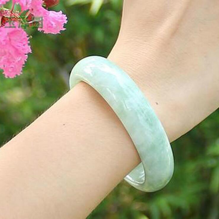 Wholesale High Quality Jade Bangles grade A Pure Natural Jade Bangle Bracelet Light green floating flowers stone Womens Bangles(China (Mainland))