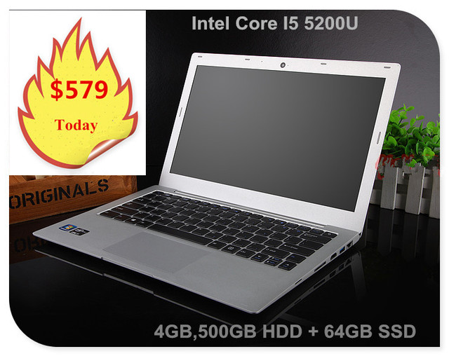 13.3inch ultrabook laptop notebook computer in*tel core I5 5200U 4GB 500GB HDD & 64GB SSD USB 3.0 HDMI freeshipping