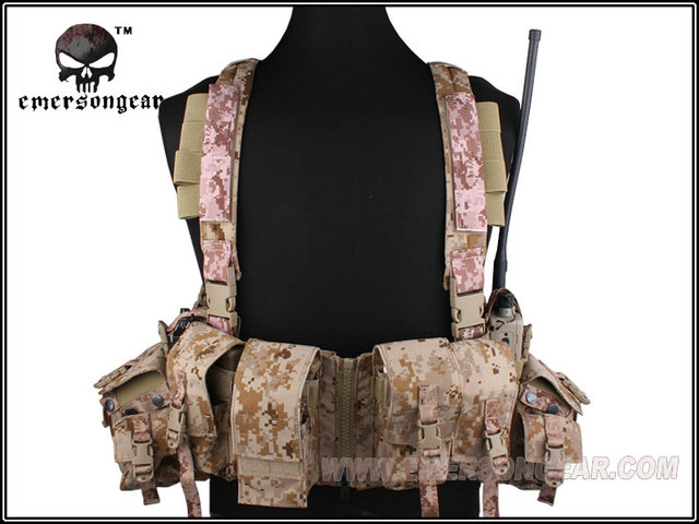 EMERSON LBT 1961A-R Chest Rig Tactical Vest Airsoft Painball Military Army Combat Gear AOR1 Digital EM2977B