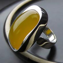Природный Желтый Камень Кольца Серебро 925 Bague Femme Свадебное Панк Заявление Чисто S925 Тайские Серебряные Кольца для Женщин Ювелирные Изделия(China (Mainland))