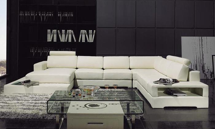 Latest Modern Design Sofa U Shaped Corner Sofa with LED Light Storage Rack functional Sofa Set Living Room Furniture Settee(China (Mainland))