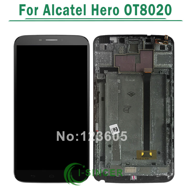 Original LCD Display Screen Touch Digitizer with Frame Assembly For Alcatel One Touch Hero OT8020 8020D Black/White