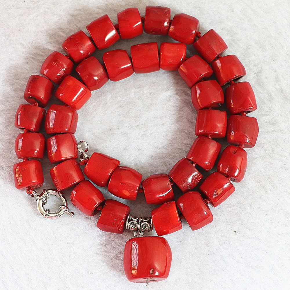 Fashion red natural coral stone 10-15mm irregular beads with pendant jewelry necklace for women elegant party gifts 18inch B725(China (Mainland))