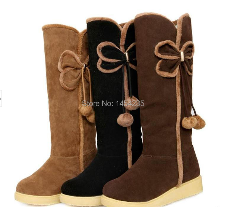 2014 new Scrub sweet winter women snow boots flat bottomed Korean version plush bow shoes - Boutique store