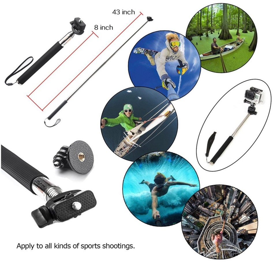 6 in 1 Go Pro Accessories Set Chest Belt Head Strap Bobber Floating Monopod Tripod for Gopro Hero 4 3+ 3 2 SJ4000 Xiaomi Yi