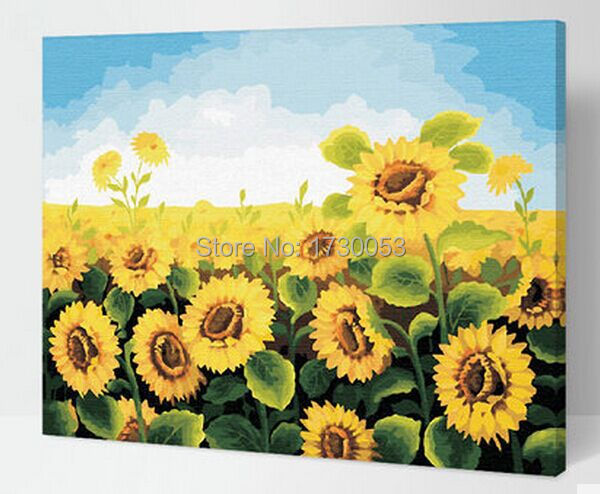 home decorating ideas painting sunflower field pictures for home wall G059(China (Mainland))