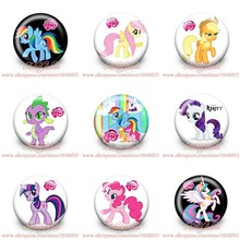 45pcs/Lot My Little Ponies Party Supplies Gifts bags Accessories Plastic PVC Buttons pins badges Pinbacks round brooch(China (Mainland))