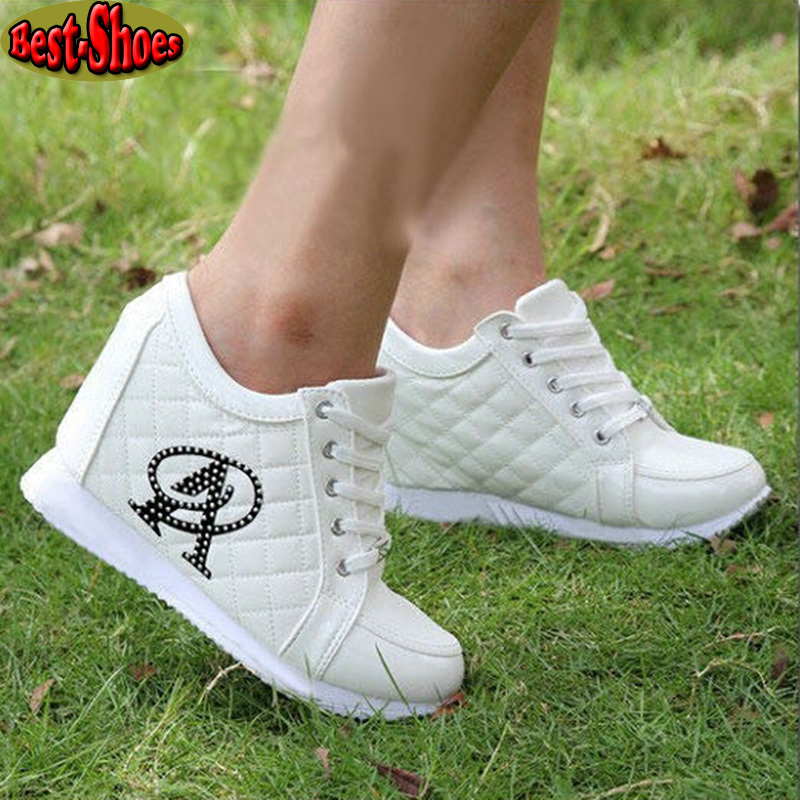 2015 Autumn Black White Hidden Wedge Heels Casual Shoes Woman Platform Shoes Women's Elevator High-heels Walking Shoes For Women(China (Mainland))