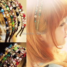 2015 Fashion Hair Accessories Women Crystal Rhinestone Hairbands Glitter Headbands 7 Colors - mixlot (no min order store)