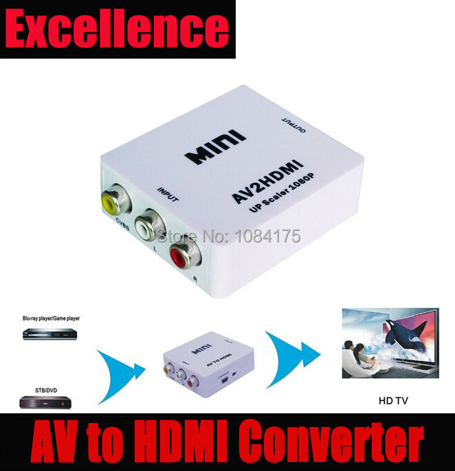 Free shipping&wholesale 5pcs/lot CVBS/RCA/AV to HDMI converter scaler 1080p adapter with USB power supply in retail package(China (Mainland))