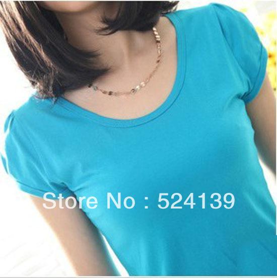 2013 Fashion Ladies' T-shirt Simple T-shirt Tight T-shirt 9 color Free Shipping
