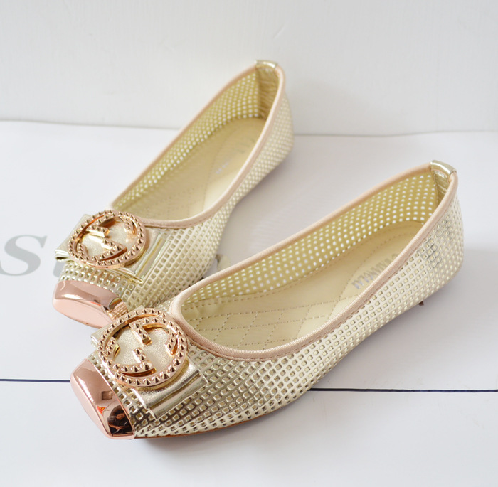 In the summer of 2015 hole section flat shoes hollow metal head casual shoes size 928