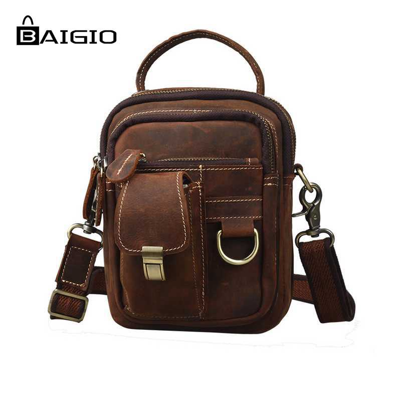 Baigio Men Vintage Style Bag Thick Cowhide Genuine Leather Travel Waist Chest Day Pack Cross Body Bag Fashion Casual Travel Bags(China (Mainland))