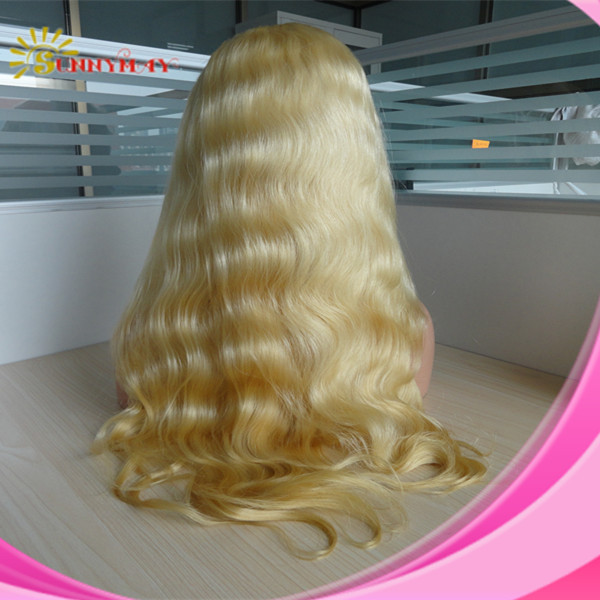 Sunnymay wigs in stock fast shipping grade 6a body wave cheap virgin brazilian blonde human hair full lace wigs for white women(China (Mainland))