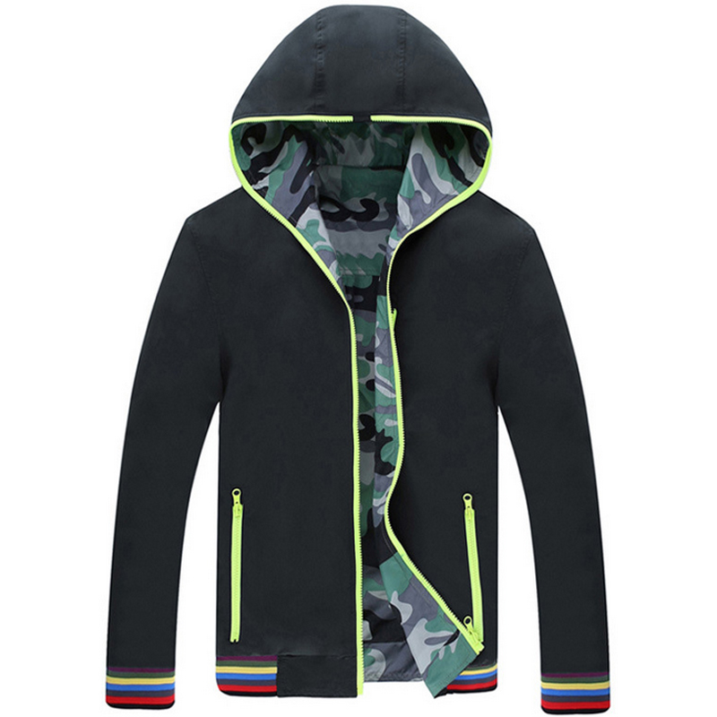 2015 new winter jacket men hooded jacket camouflage two sided men s winter coat Free shipping