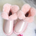 Clover Flower Pearl Wove Short Sheepskin Snow Boots Natural Wool Inside Waterproof Winter Boots Women Sweet