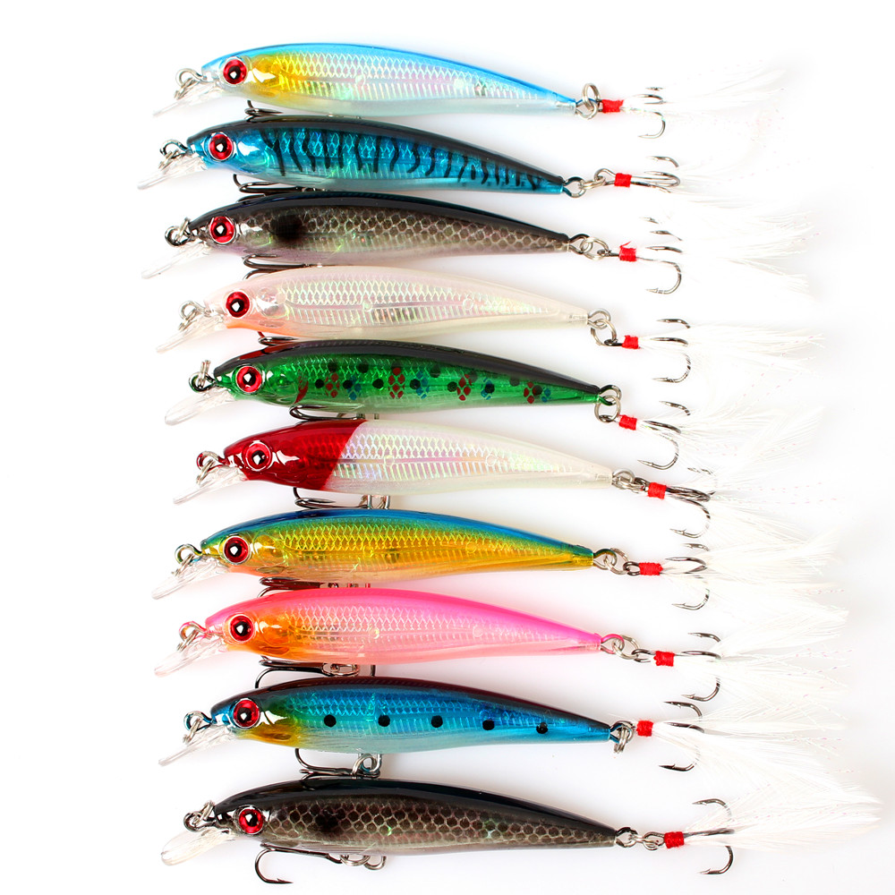 Hot Sale 10Pcs Floating Minnow Fishing Lure China Artificial Bass Minnow Wobblers Crankbait Fishing Tackle with Luminous 3D Eyes(China (Mainland))