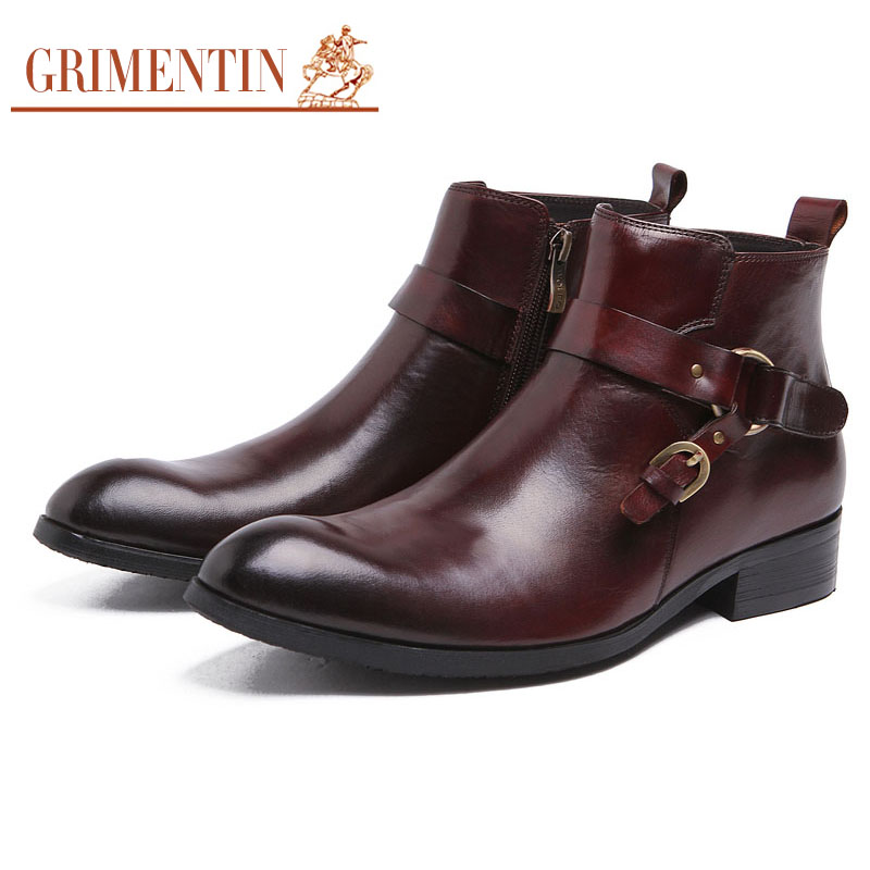 2016 Italian luxury design cowboy fashion mens ankle boots dress genuine leather men shoes for business office with buckle #909(China (Mainland))