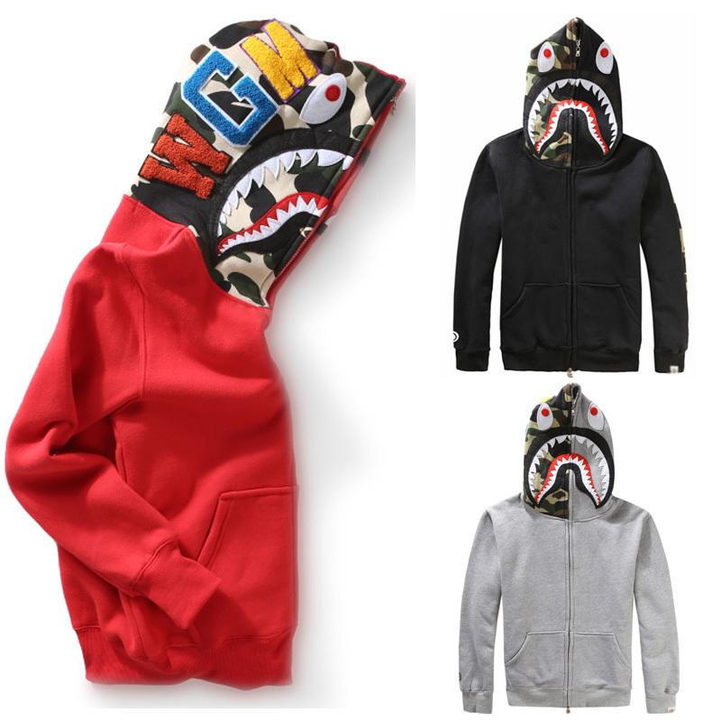 Highest quality Brand Bape Shark Hoodies Camouflage Autumn And Winter Sweatshirts Fleece Jacket Bape Shark camo Hoodie men(China (Mainland))