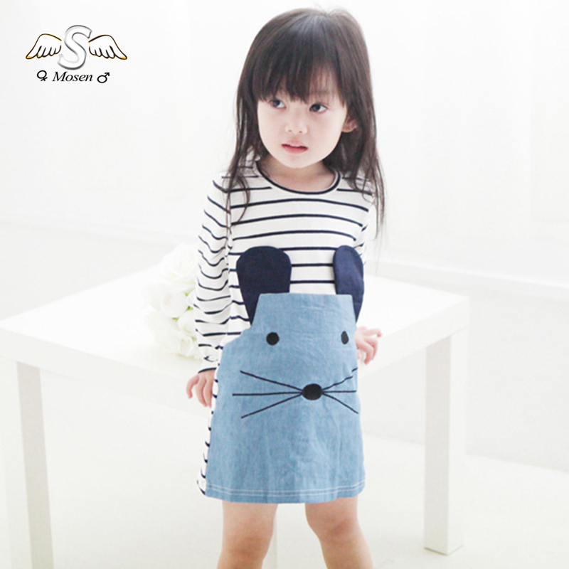 Casual Striped Patchwork Character Girl Dresses Long Sleeve Cute Mouse Children Clothing Kids Girls Dress Denim Clothes Girls(China (Mainland))