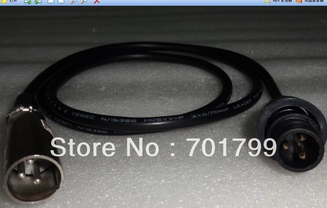 1m long 3pin XRL DMX male connector to 3 core male waterproof connector(15mm series) adaptor