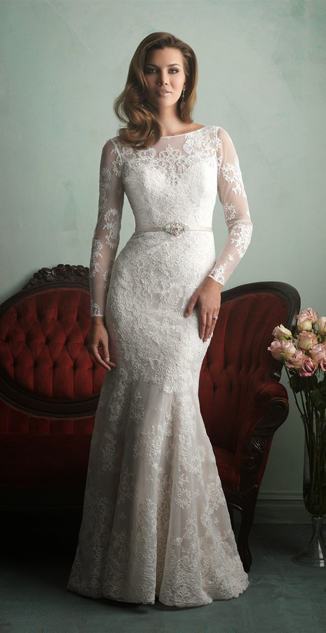 New Fashionable 2015 Custom Made Elegant Modest Chiffon Lace Bridal Gown Long