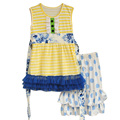 Summer Kids Boutique Cotton Clothing Yellow Stripes Lace Top With Belt Polka Dots Ruffle Shorts Girls