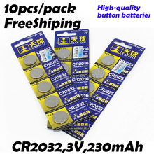 10pcs High Capacity CR2032 3v lithium battery Cell Button Card Batteries wholesale LOT Button coin for watches,board,toys 2032(China (Mainland))